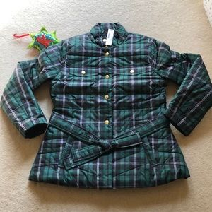 Plaid Belted Puffer Jacket